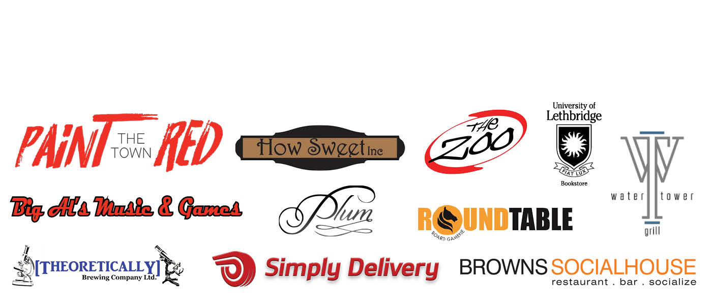 A logo collection of businesses supporting United Way's Paint the Town Red event